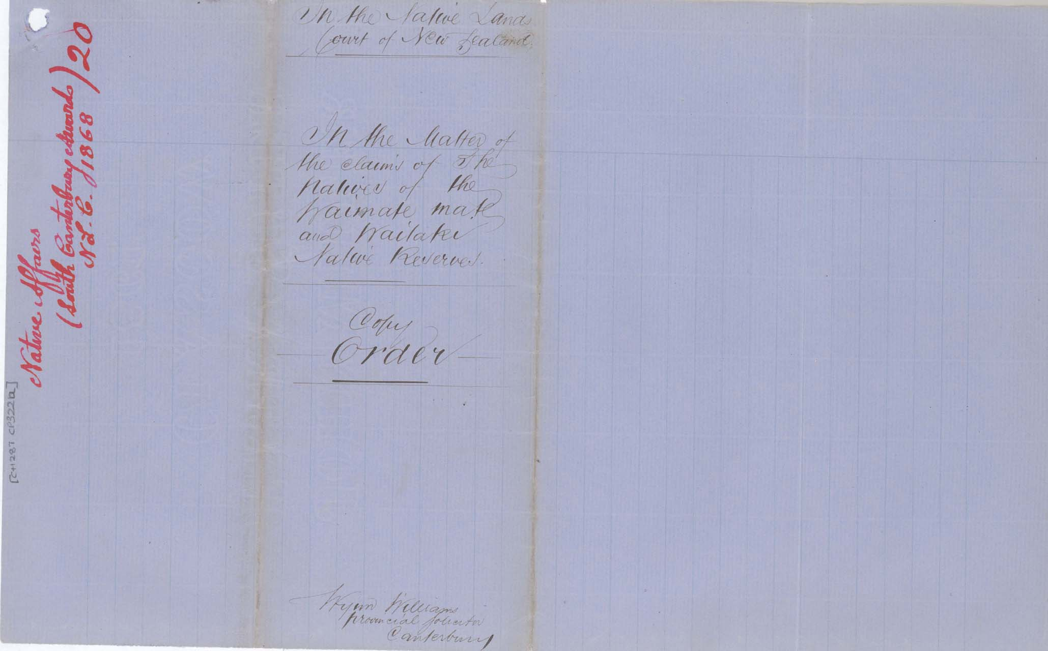 Descriptions - Sth Canterbury Native Land Court Reserves of 1868 - Cover