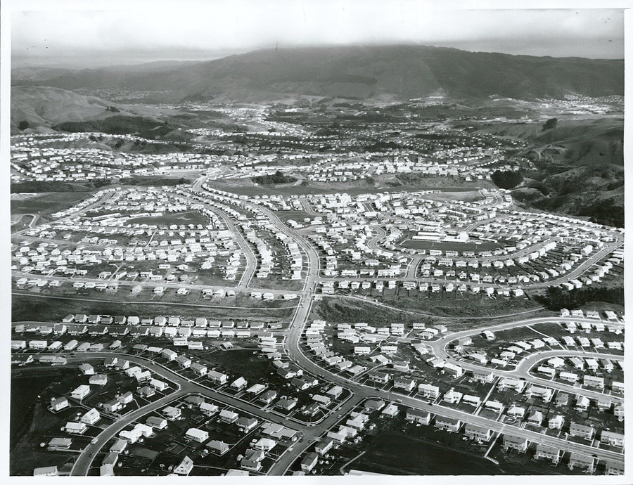 black and white aerial view of a subdivision
