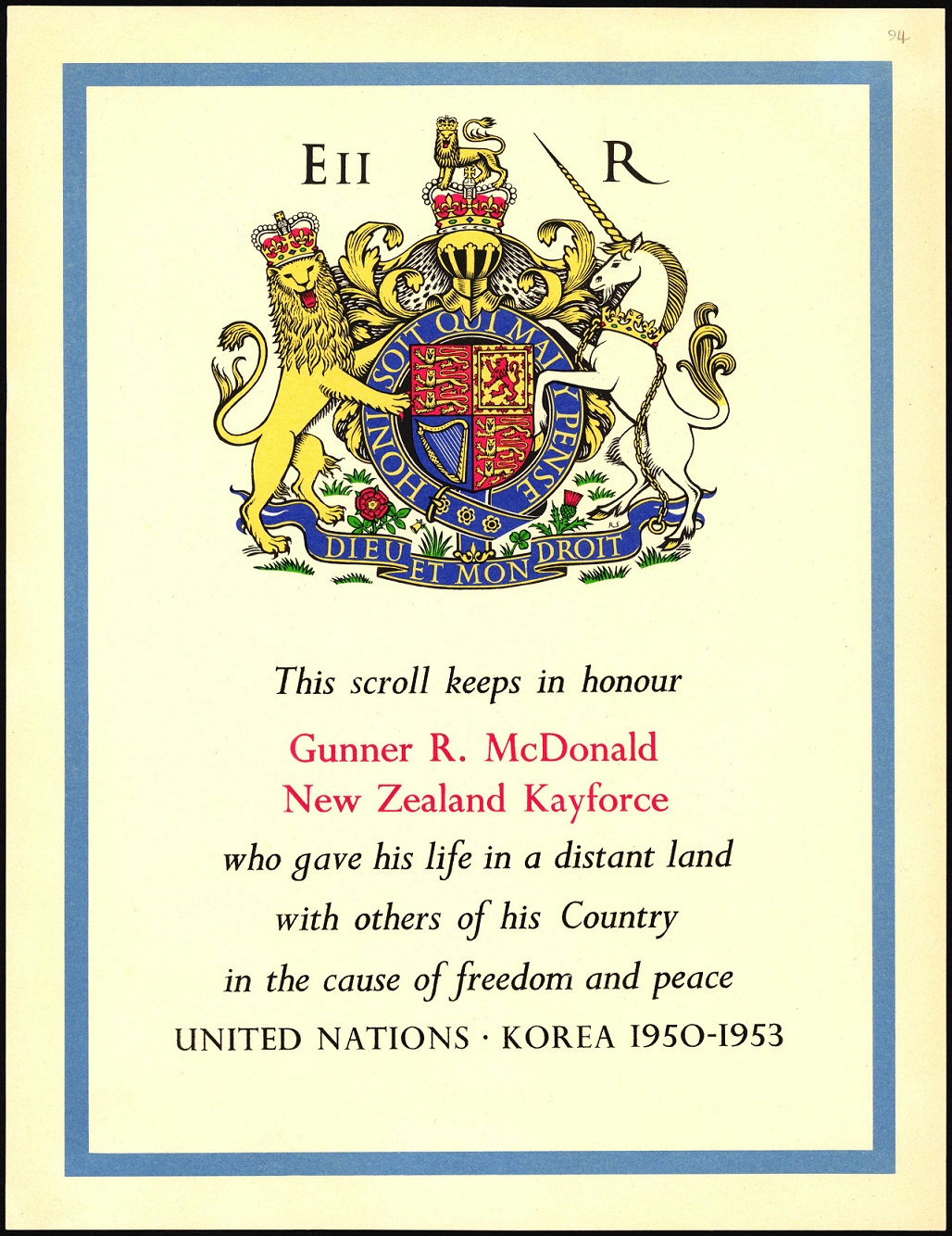 Image of a commemorative scroll with the Royal Coat of arms, some text and a blue border