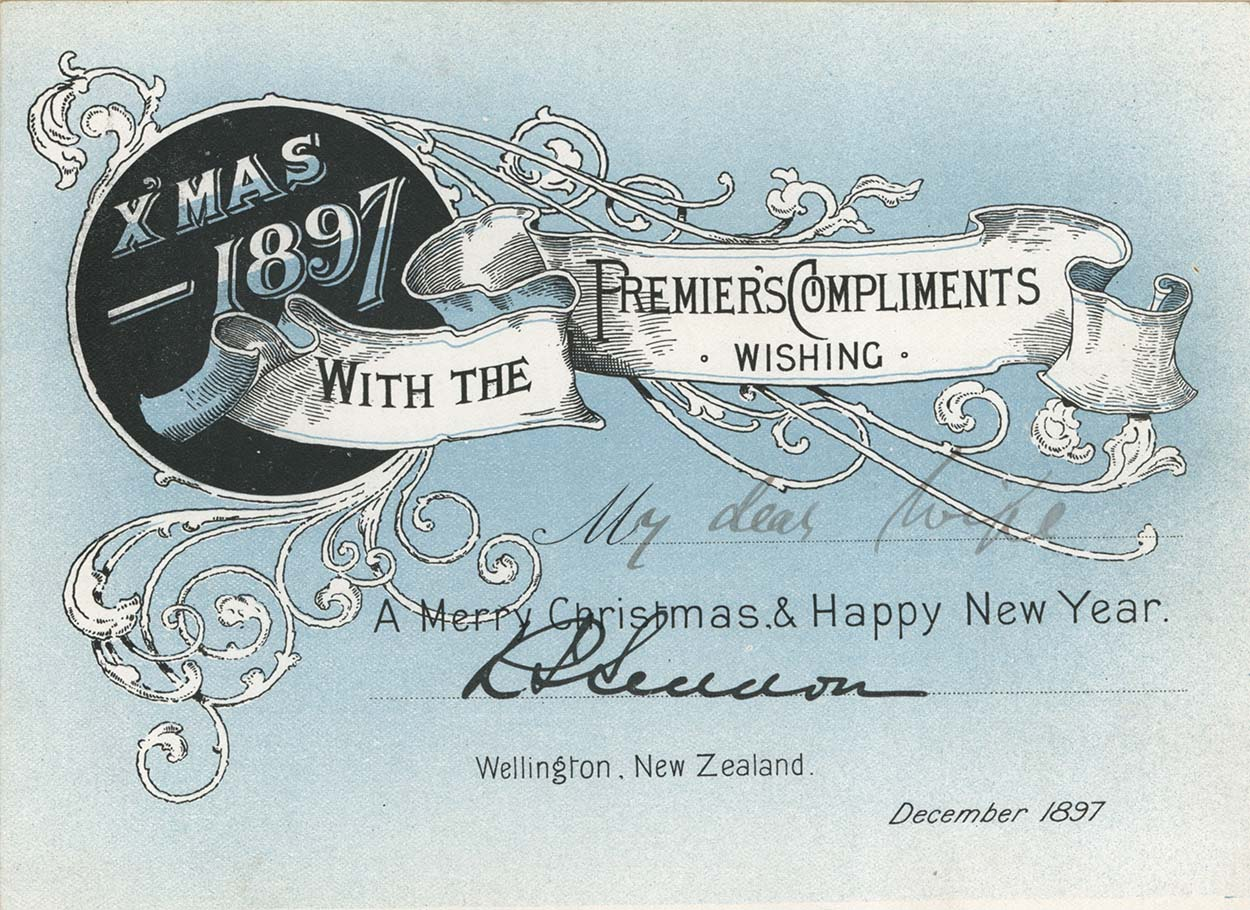 Christmas card from Richard Seddon to his wife