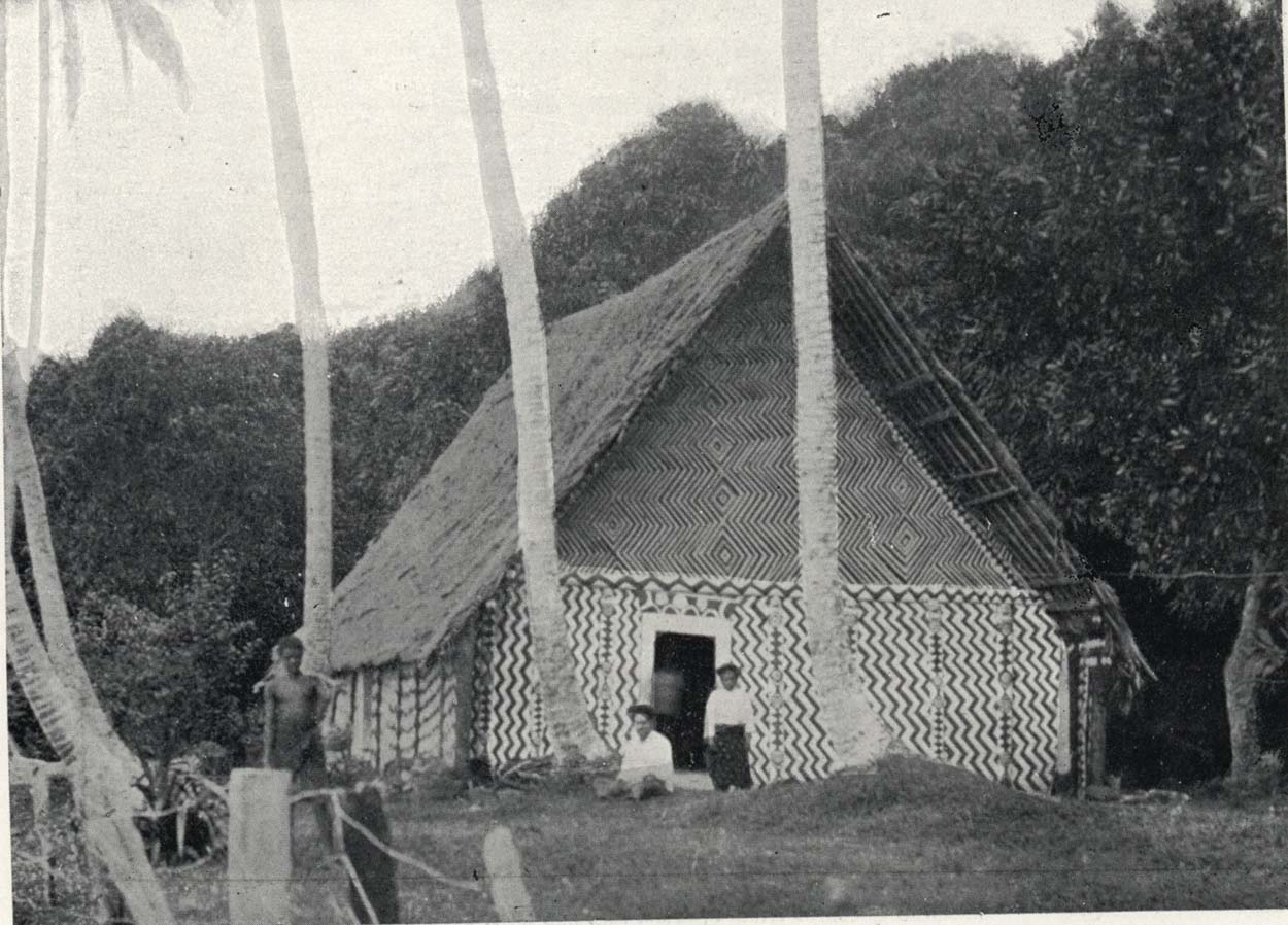 Black and white photo of a traditional house in Fiji