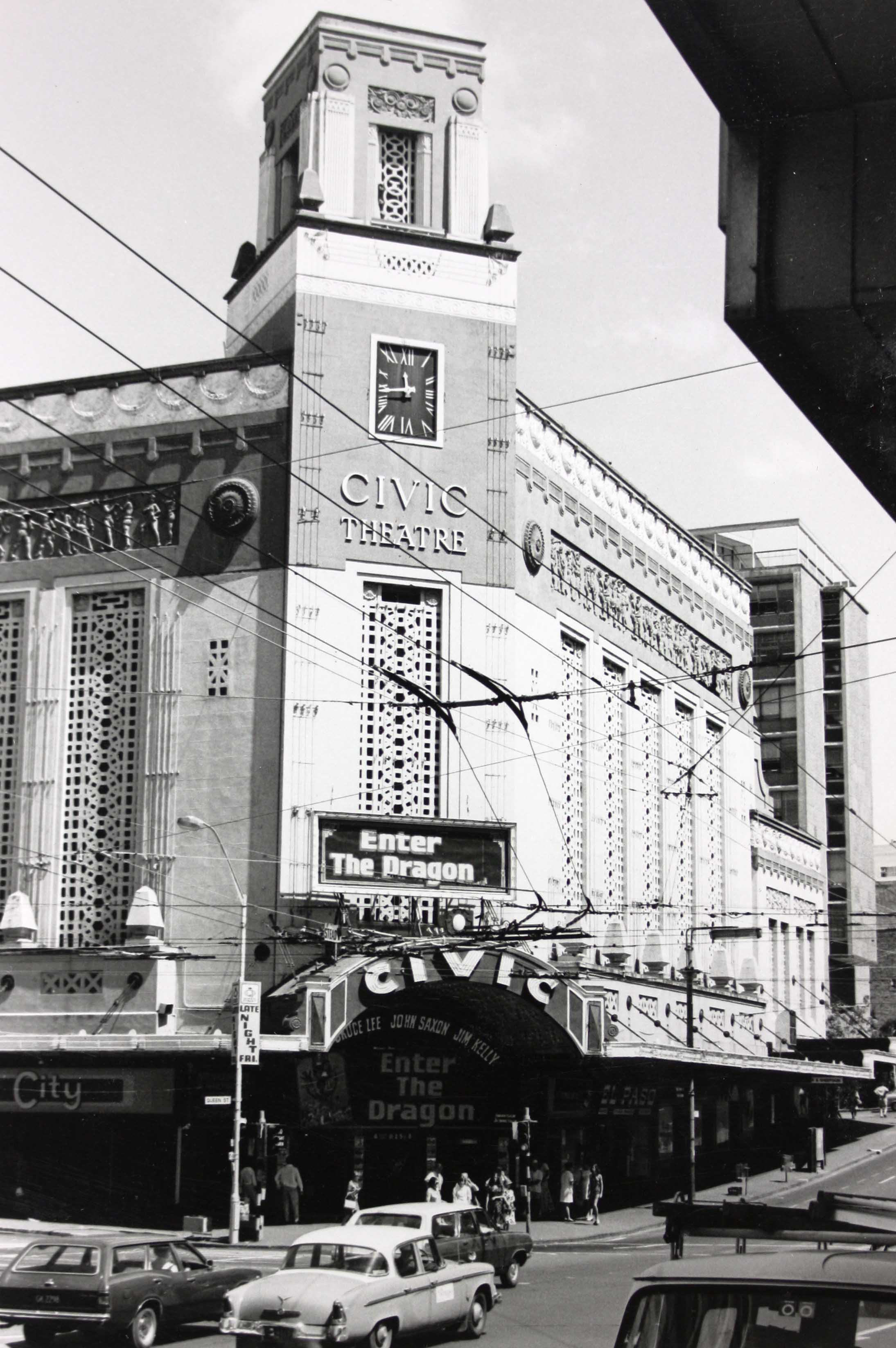 Black and white photo of the Civic Theatre from the street