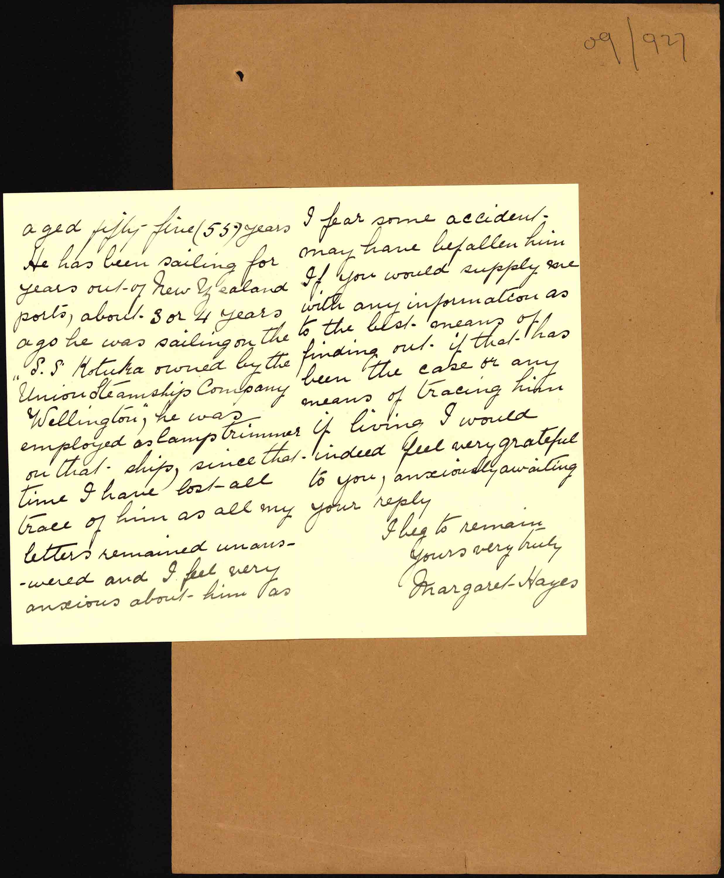 Second page of Mr Hayes' letter