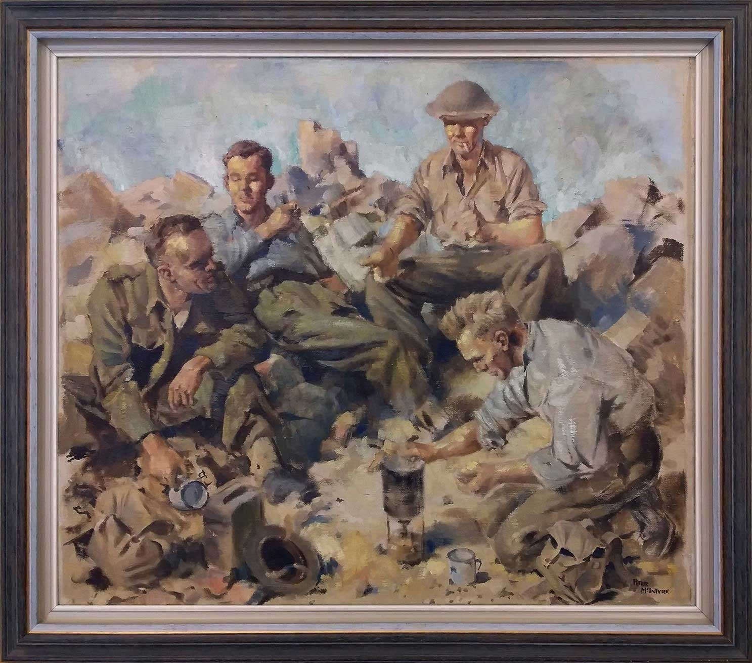 A striking example from The National Collection of War Art. 'Kiwis' by Peter McIntyre 1941