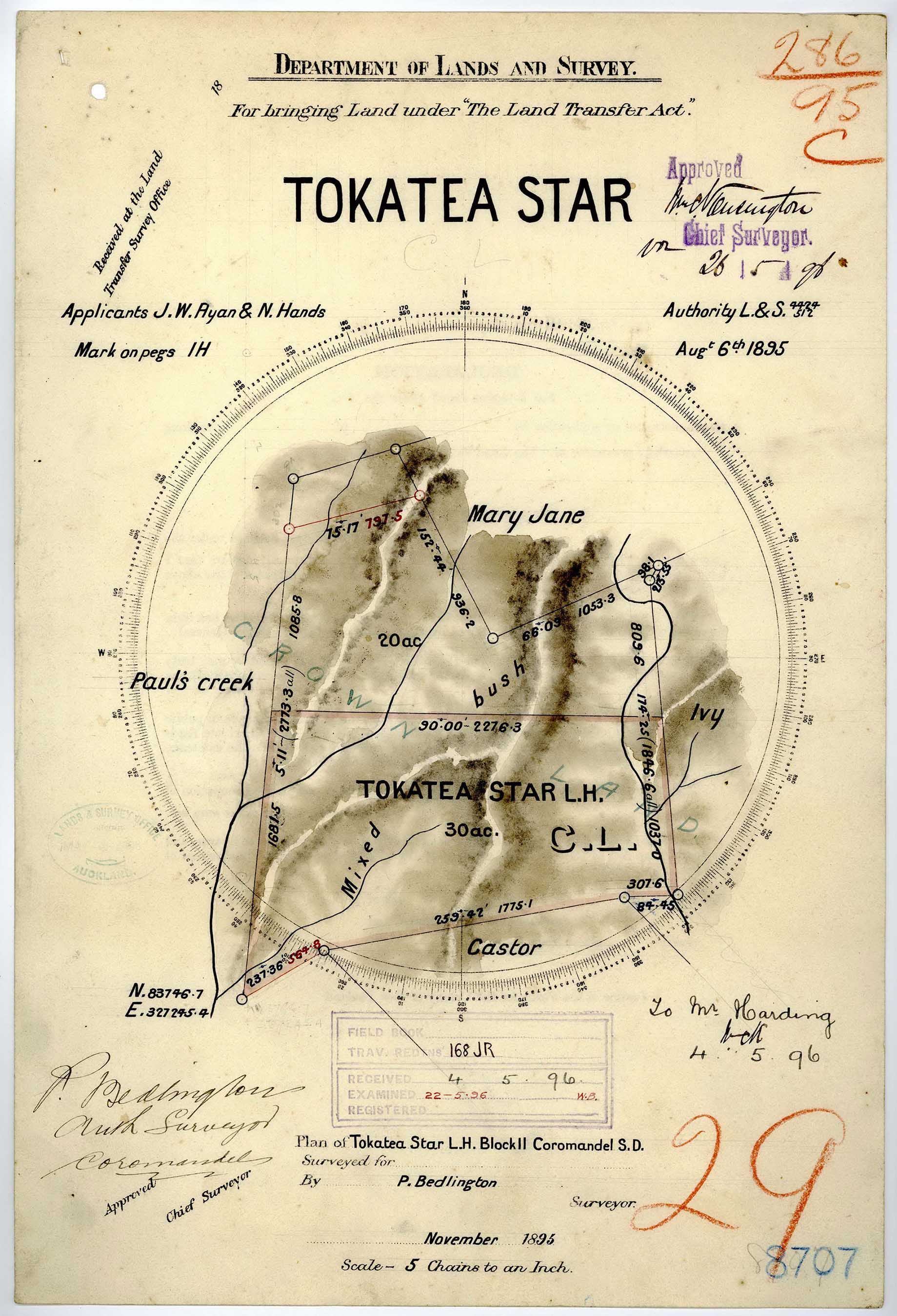 "Surveyed map of ""Tokatea Star"""