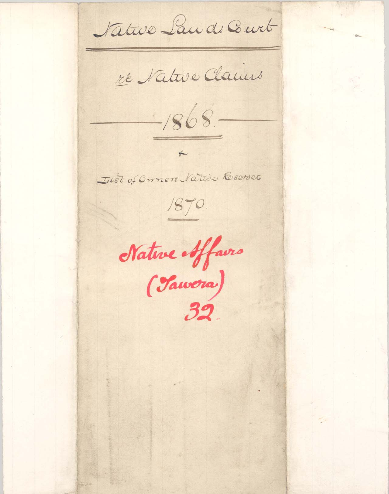 List of Owners, Tawera Reserve - 1868 - Cover