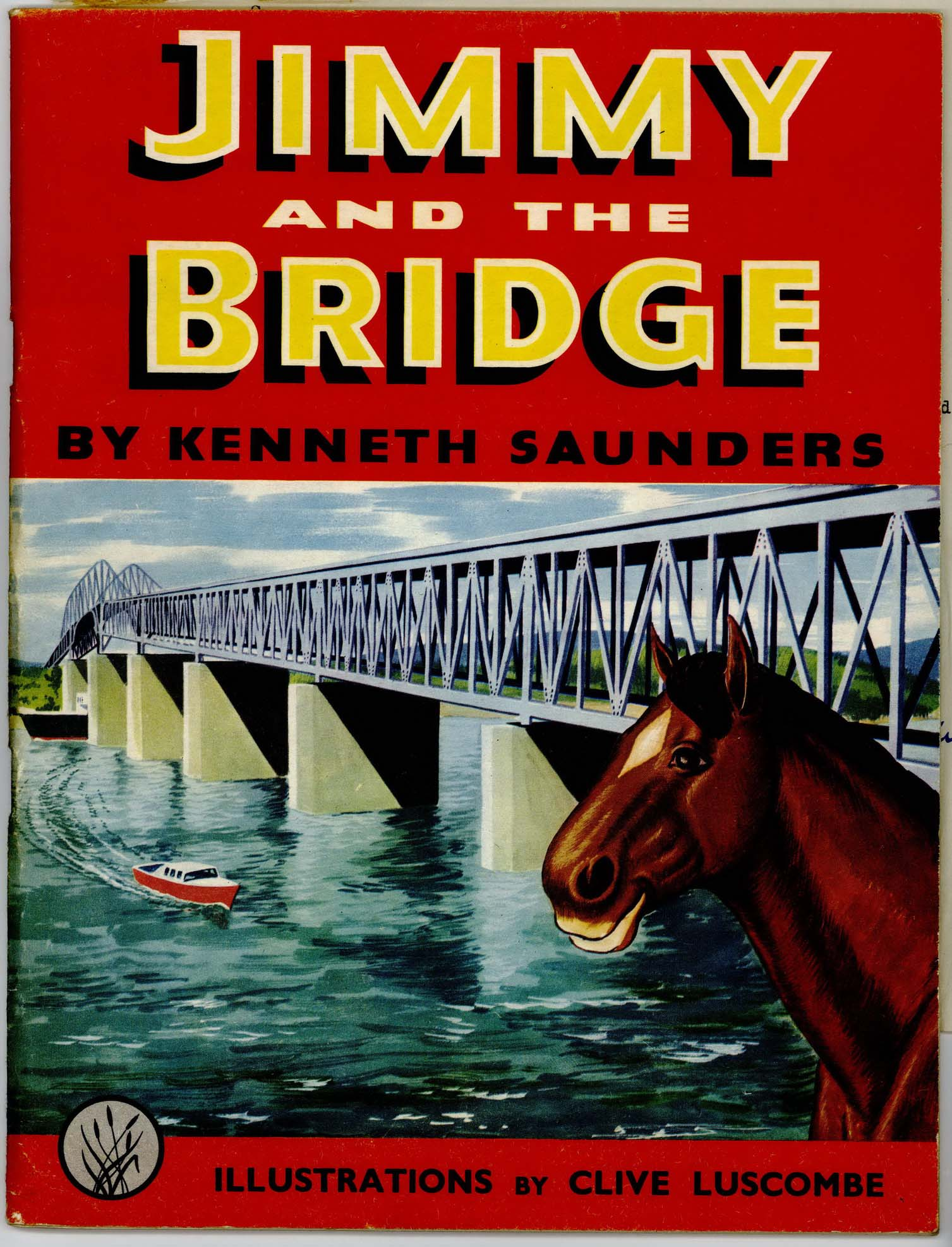 "The cover of the book ""Jimmy and the Bridge"" showing a smiling horse and the Auckland Harbour Bridge."