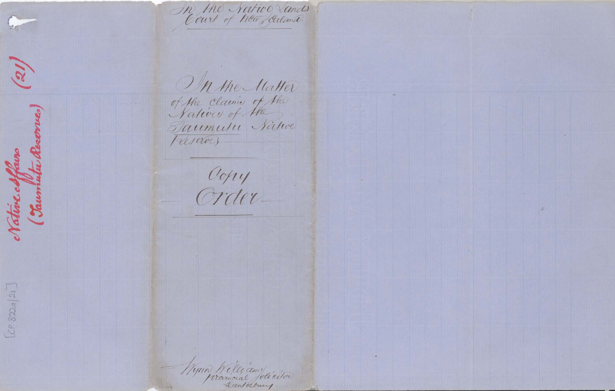 Descriptions - Taumutu Reserves awarded in 1868 - Cover