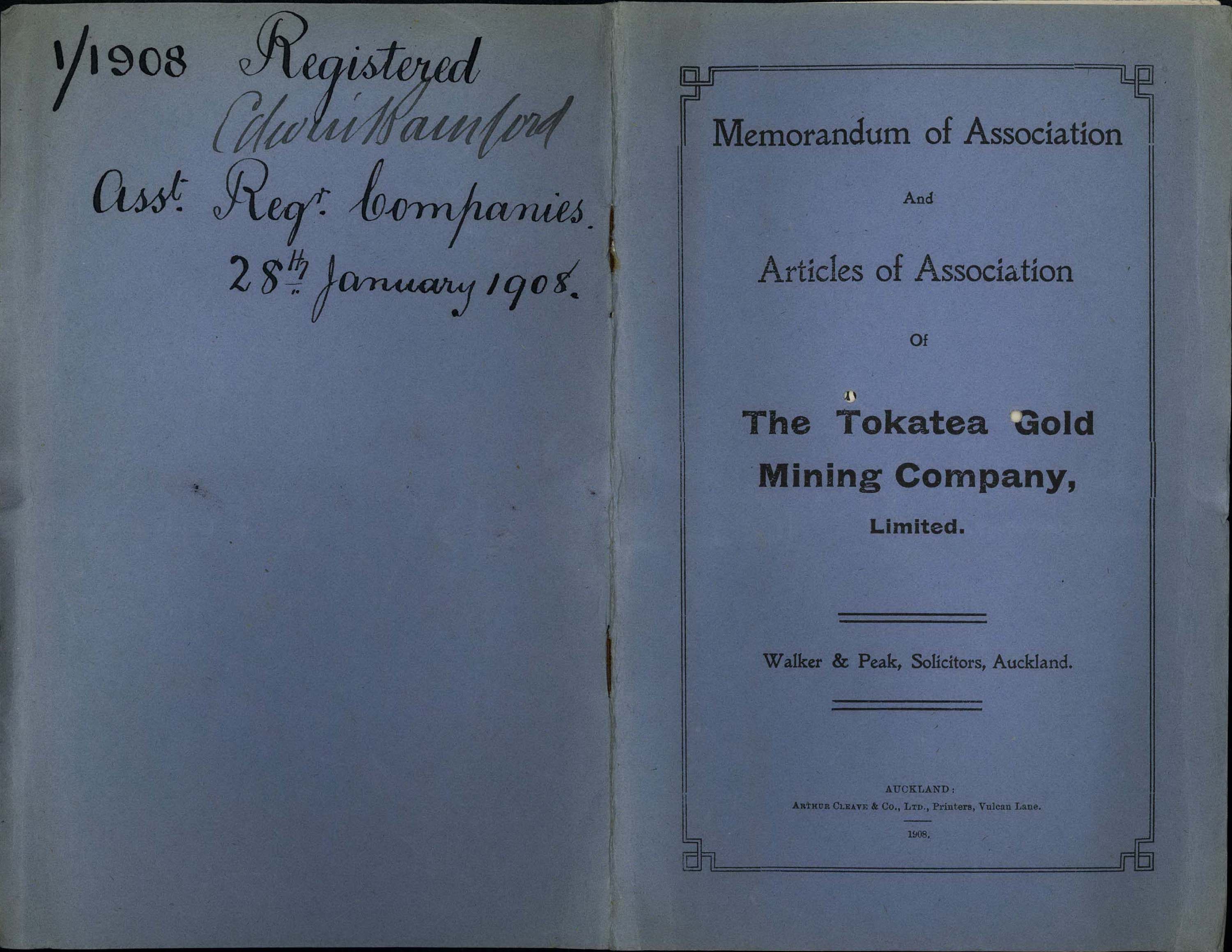 "The front and back of a blue book ""Memorandum of Association and Articles of Association of The Tokatea Gold Mining Company Limited. Walker and Peak, Solicitors, Auckland"""