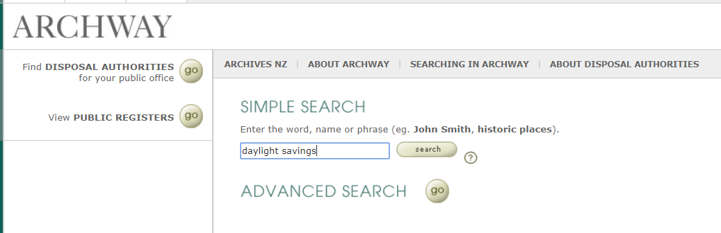 Screenshot showing Archway's home page with simple search filled in