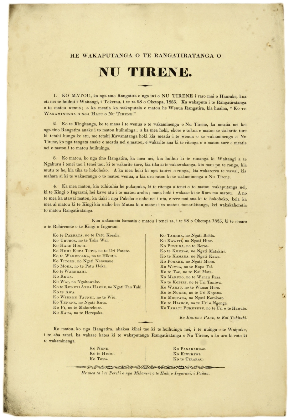 Printed copy of the Declaration of the Independence of the United Tribes of New Zealand