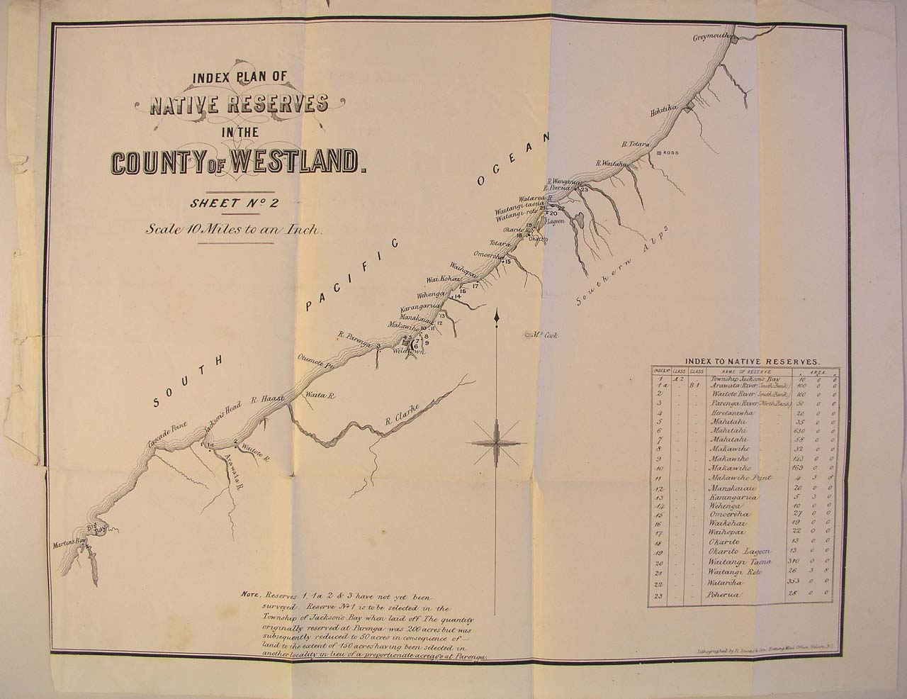 Map of Westland Reserves - 1870