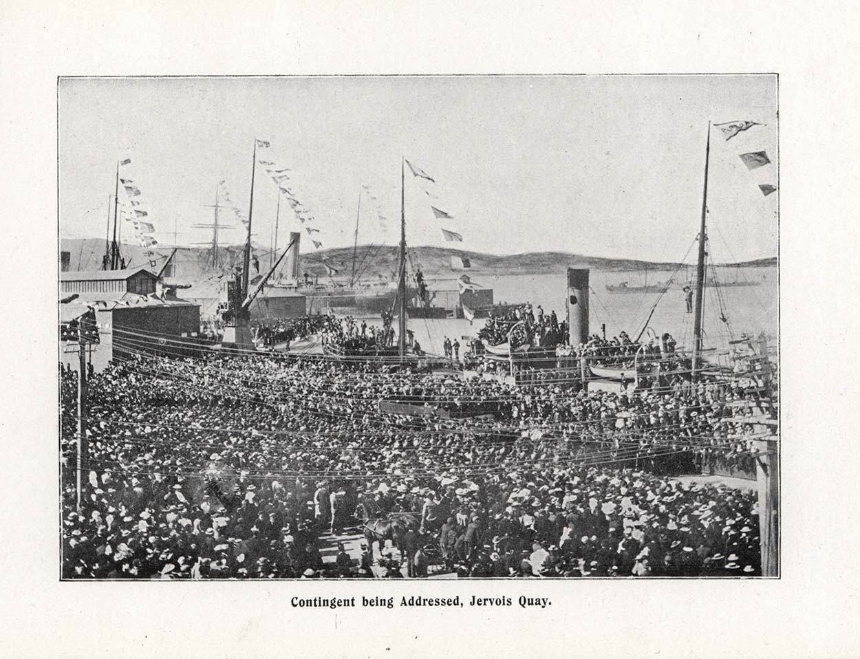 Black and white photo showing military in Jervois Quay, Wellington