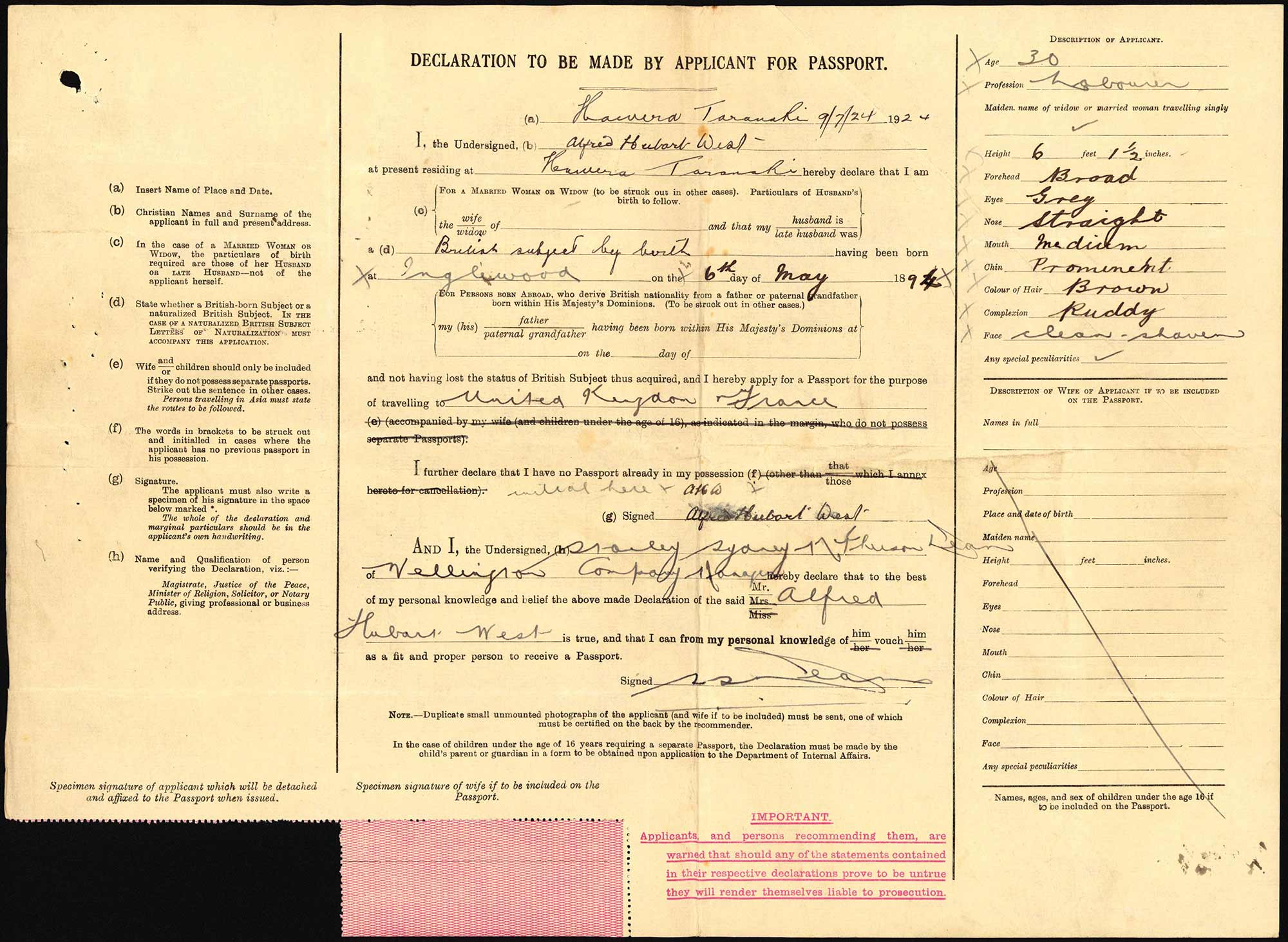 Alfred Hubert West passport application