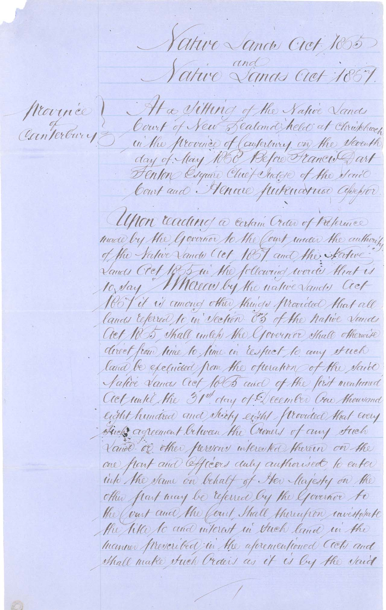 Descriptions - Kaiapoi Reserves Awarded in 1868 - Page 1