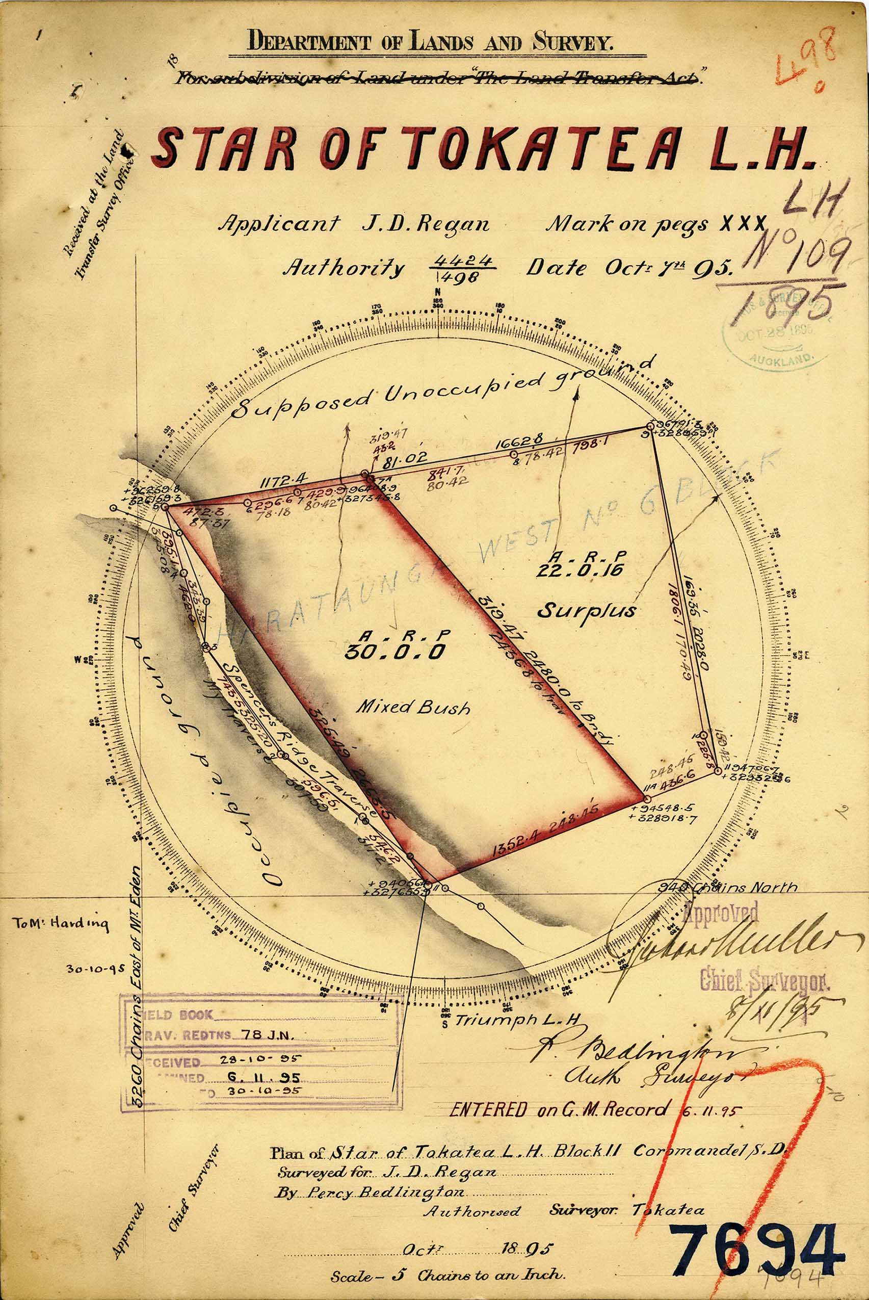 "Surveyed map plan of area referred to as ""Star of Tokatea"""
