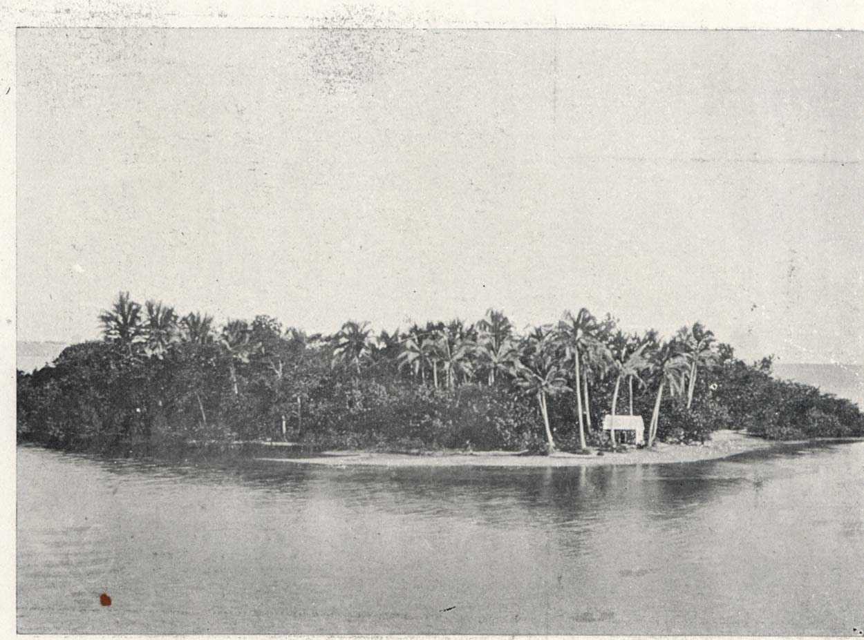 Black and white photo of an atoll