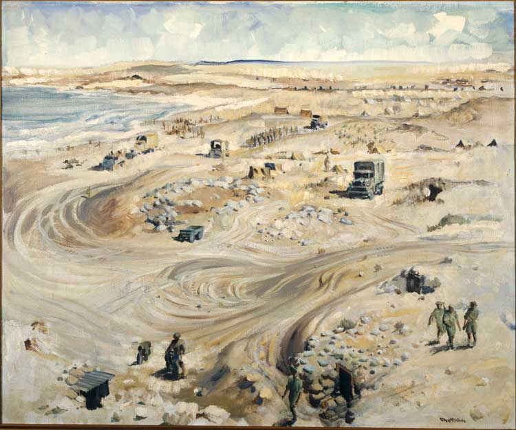 "Peter McIntyre ""North African Coast (NZ Division HQ Baggush) 13 March 1942"