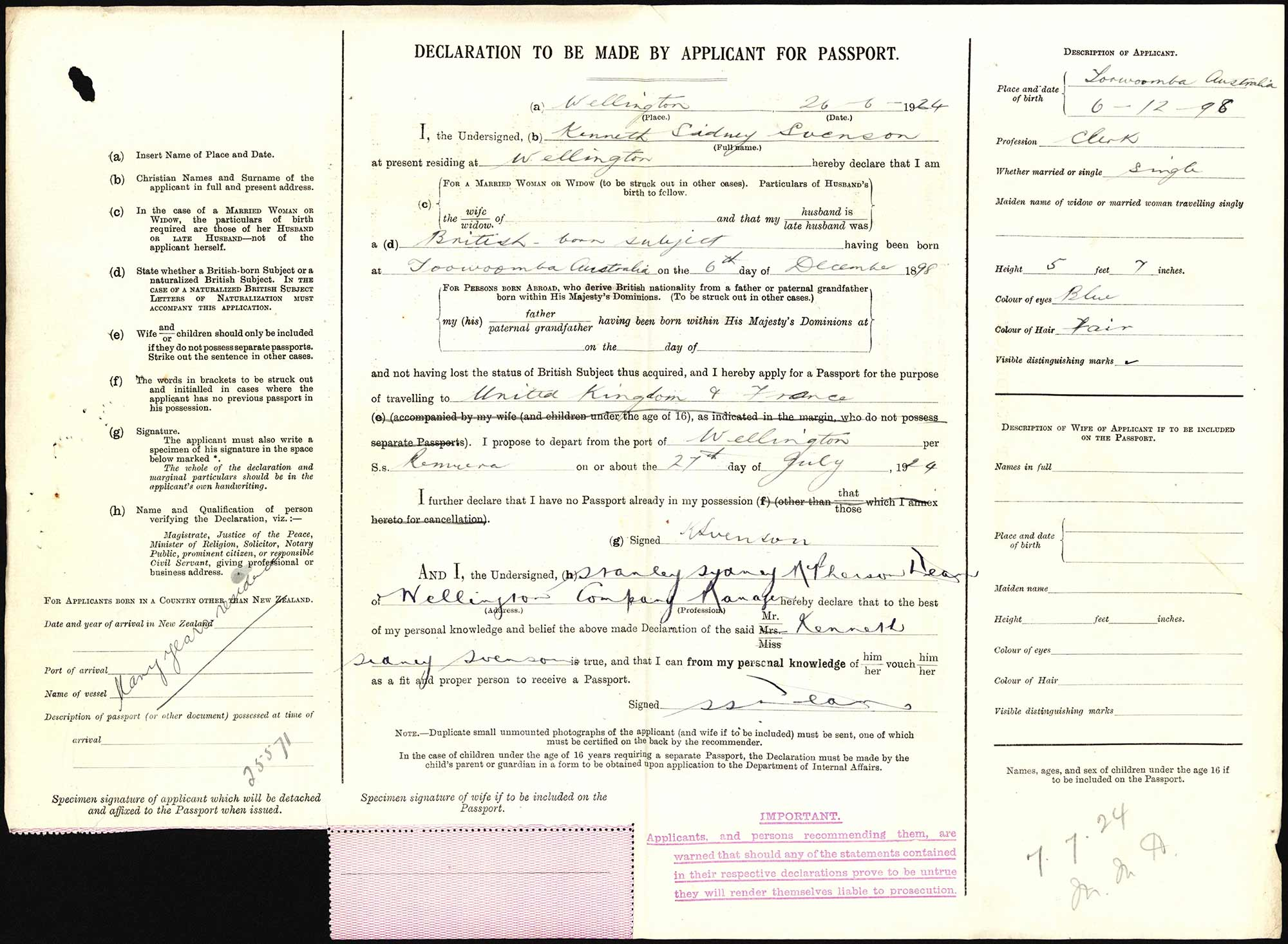 Kenneth Sidney Svenson passport application