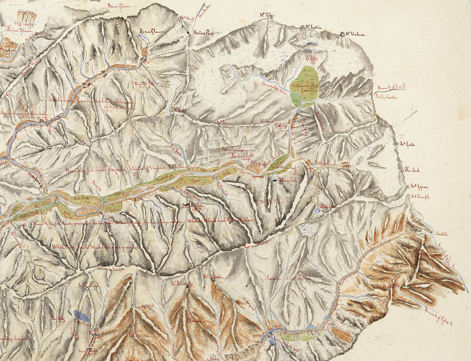 Portion of hand drawn map showing mountain range.