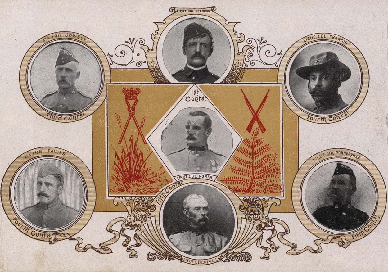 Card with portraits of Lieutenents and Majors from the Boer War