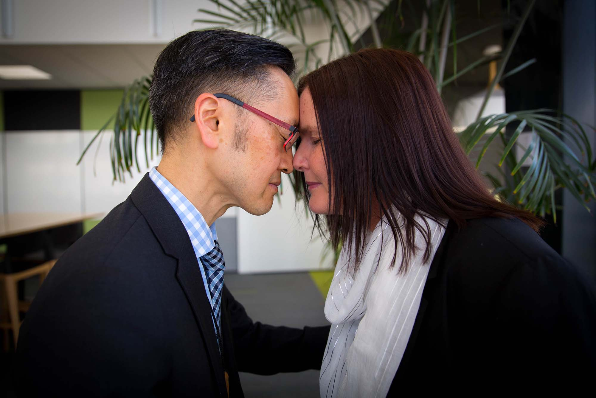 Hongi between Chief Archivist Richard Foy and Vicki Wood from Axiell