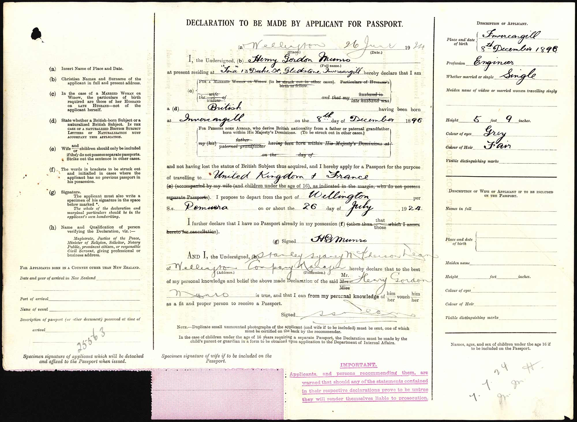 Henry Gordon Munro passport application