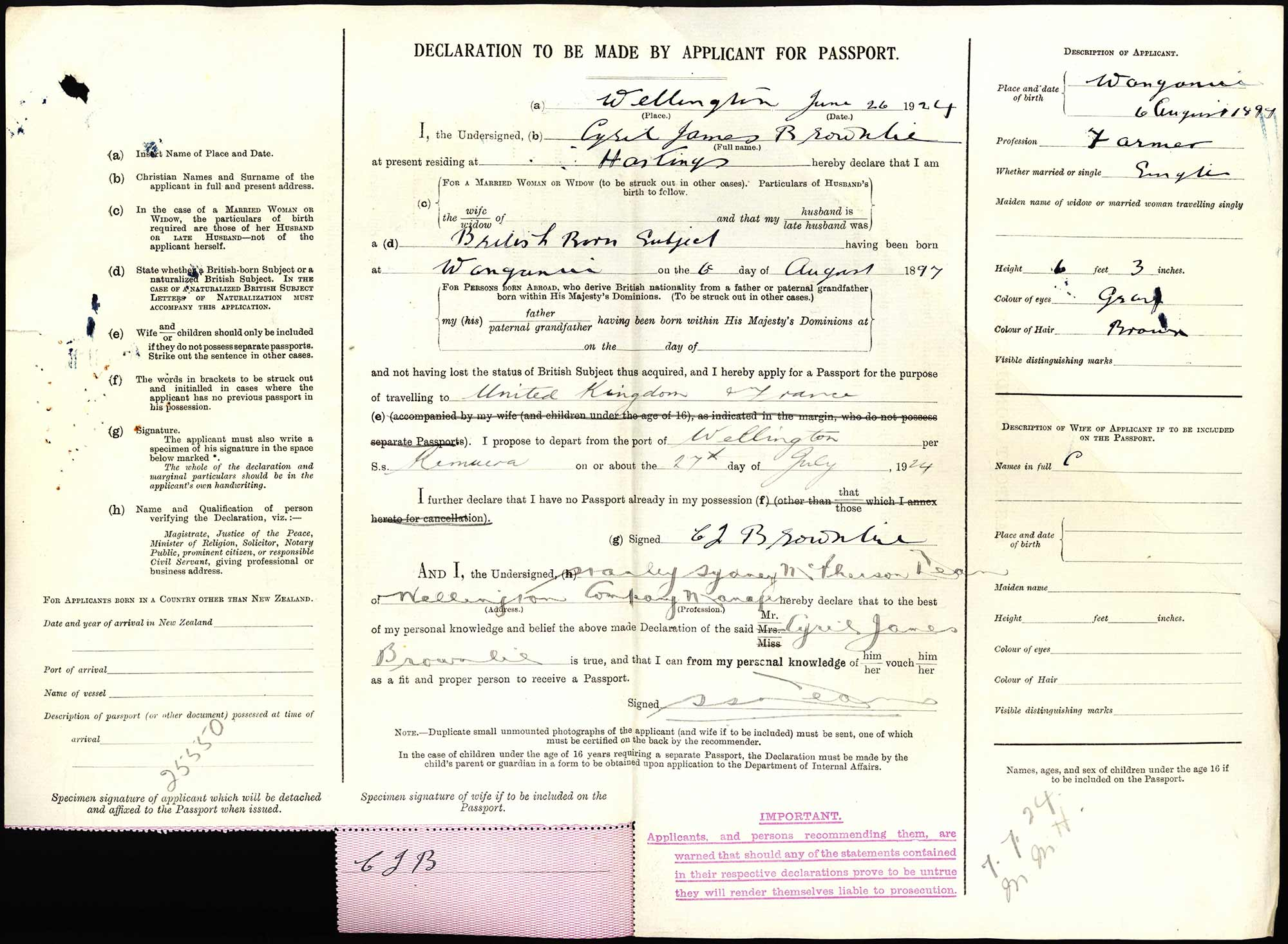 Cyril James Brownlie passport application
