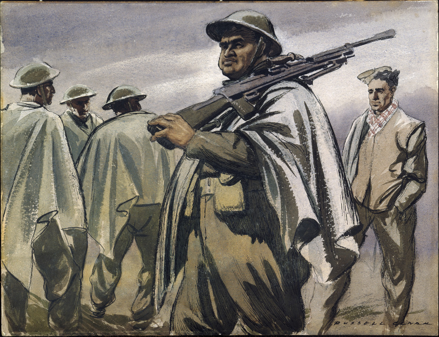 pencil and wash image of a Māori man in uniform holding a rifle across his left shoulder while walking. Other men are in the background in uniforms.