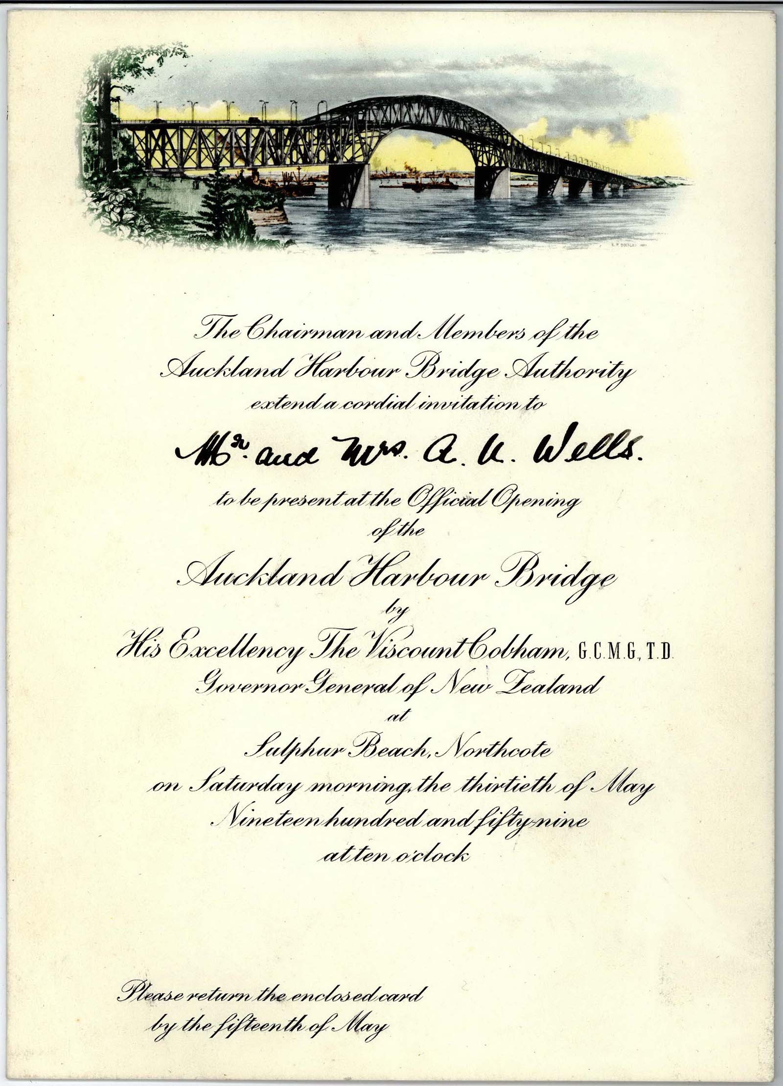 A scanned image showing the invitation to the opening ceremony of Auckland Harbour Bridge