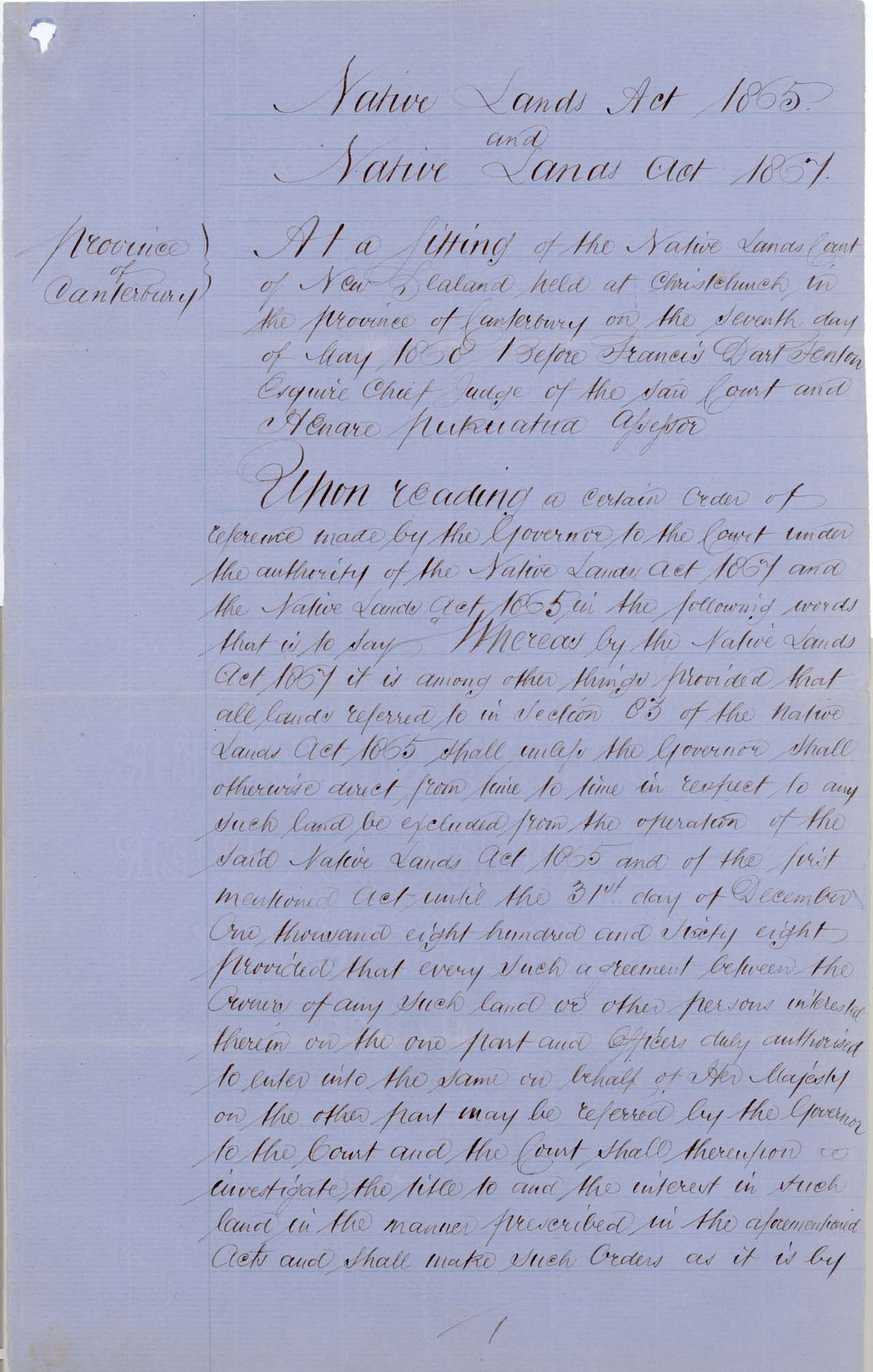 Descriptions - Taumutu Reserves awarded in 1868 - Page 1
