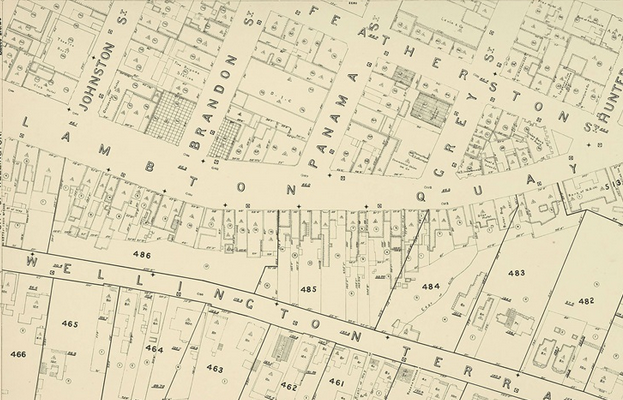 Cropped version of an old map showing section boundaries in Wellington.