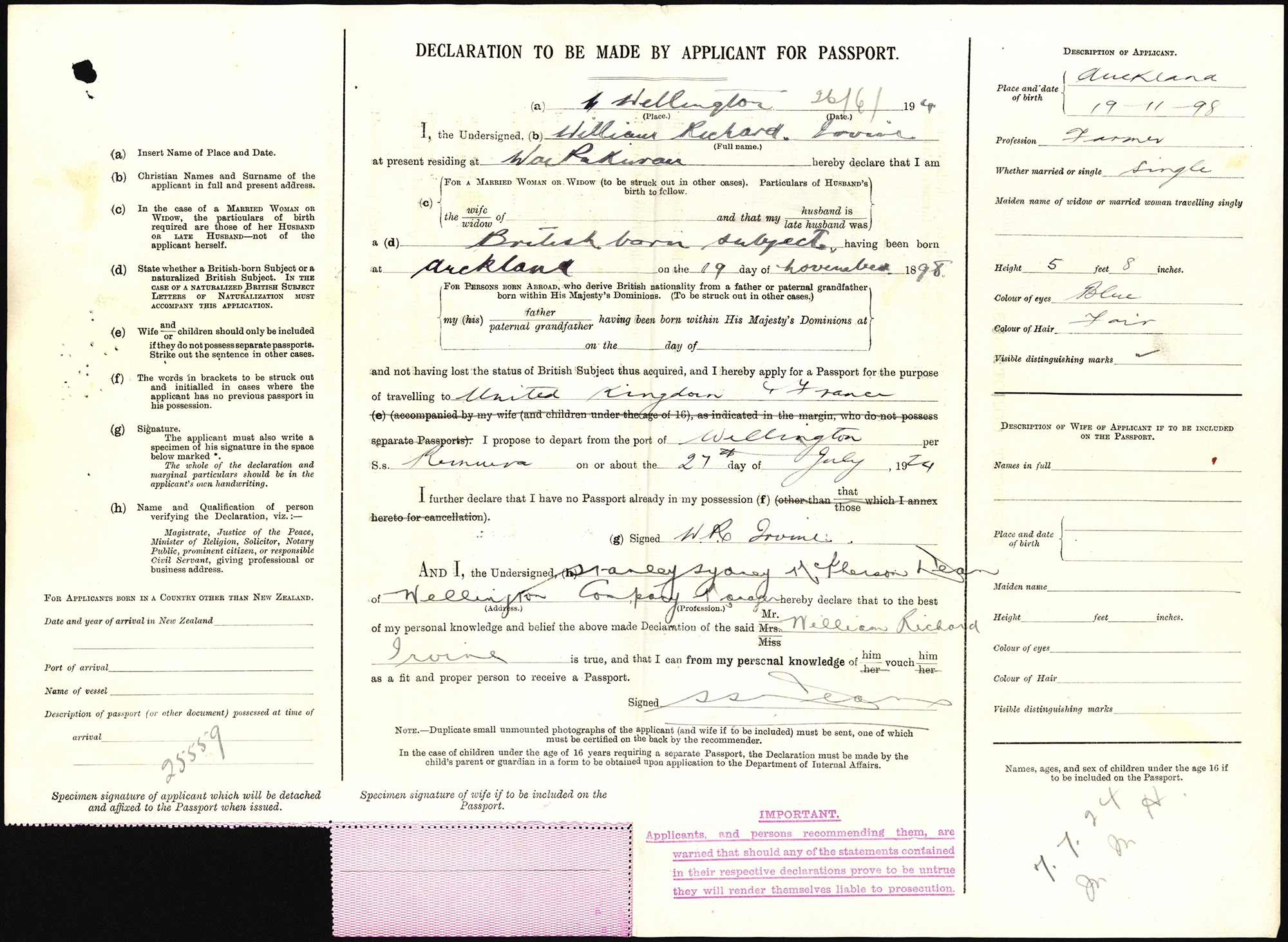 William Richard Irvine passport application