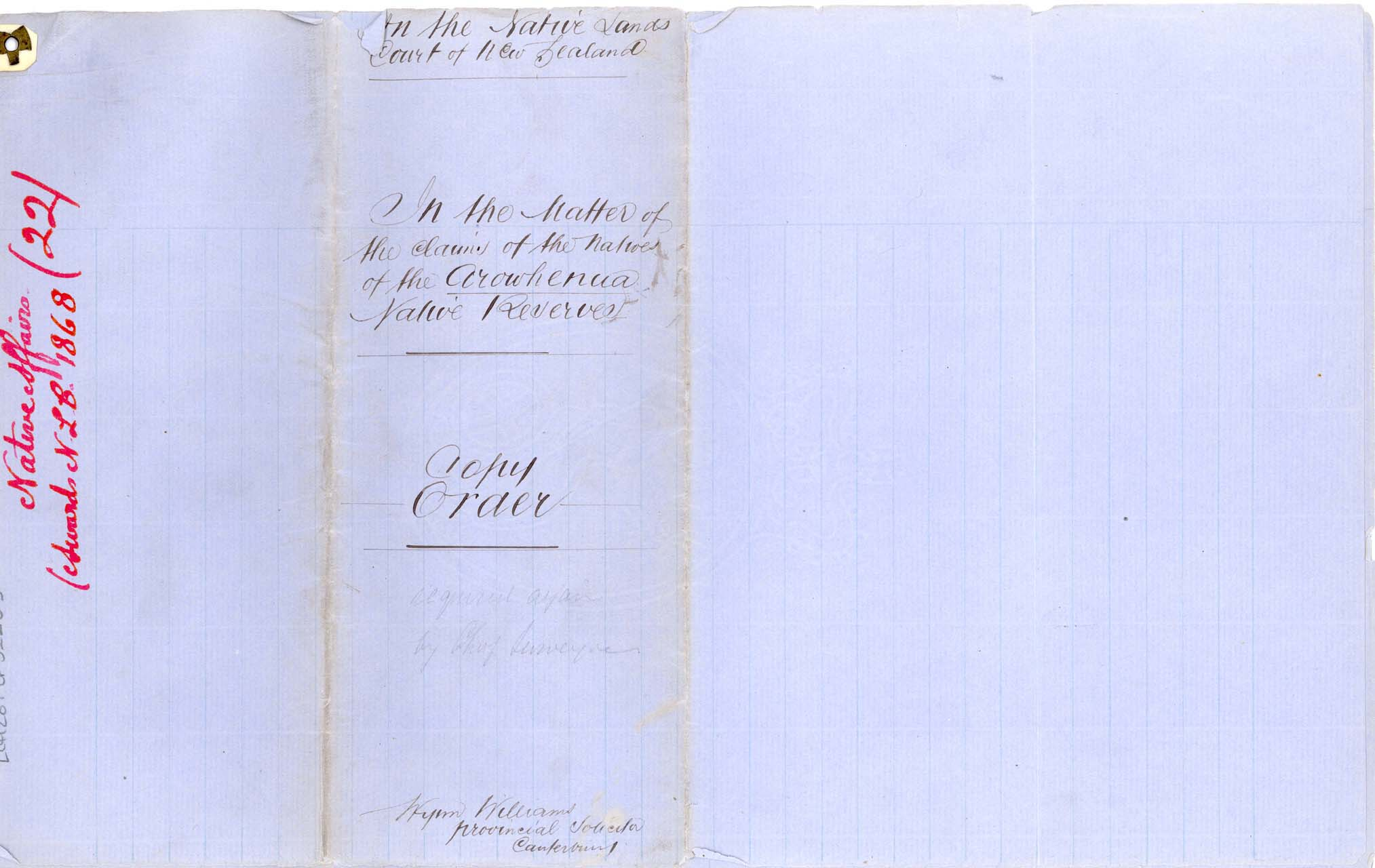 Descriptions Arowhenua Reserves Awarded - 1868 - Cover