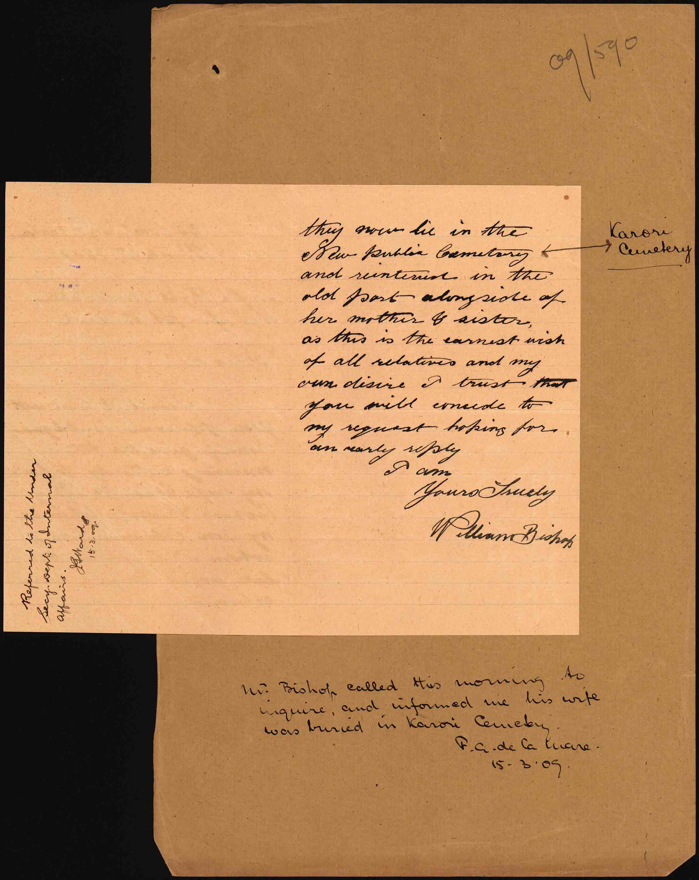 Second page of Mr Bishop's letter