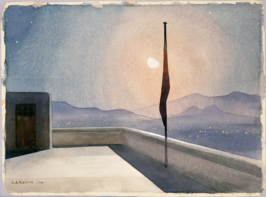 Watercolour painting from the top of the roof of the Kokinia Hosipital at night. There is an access door on the left hand side and a flag pole on the right. In the background are hills, some lights from the town; a near full moon hangs above.