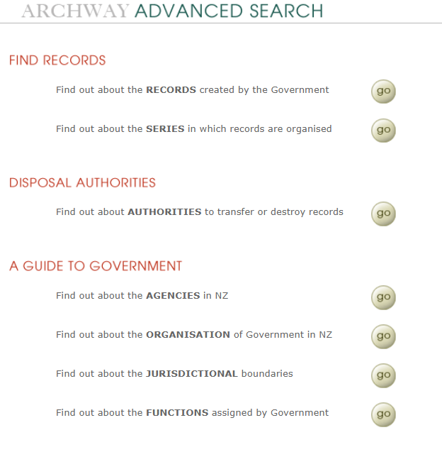 Screenshot showing Archway's advanced search page