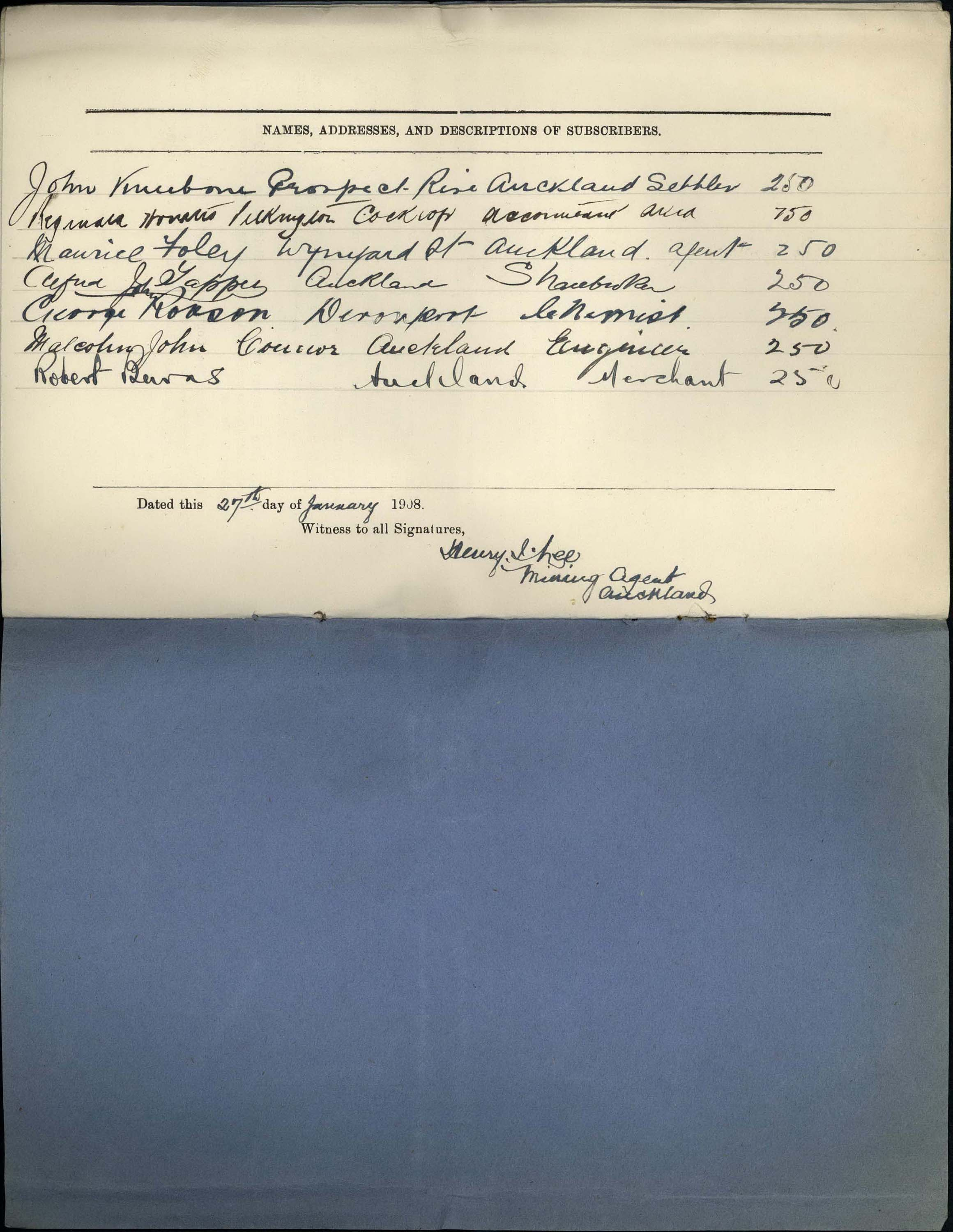 Handwritten excerpt from company registration file
