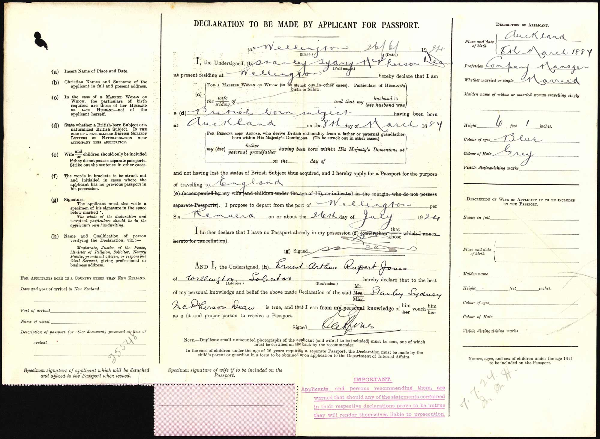 Stanley Sydney McPherson Dean passport application