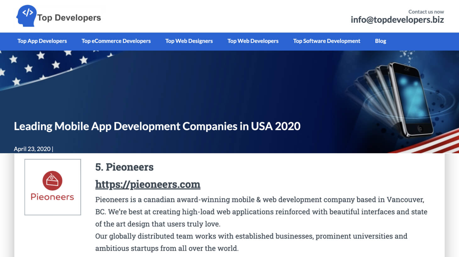 Ranked #5 by Leading mobile App Development Company in the USA for 2020