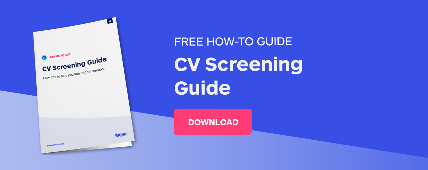 MyHR NZ CV Screening Guide