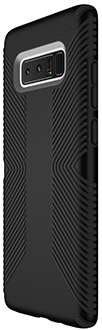 Black Speck Presidio Grip Galaxy Note8 Case Angled Back View