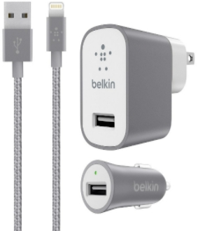 Lightning - Grey Belkin MIXIT Metallic Wall and Car Charger Kit with Lightning Cable - Front View