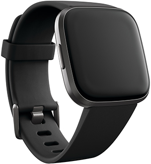 Angled Black Fitbit Versa 2 Smartwatch Front