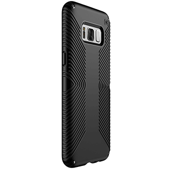 Black/Black Speck Presidio Grip - Samsung Galaxy S8 Plus Case Angled View