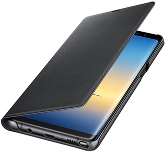 Black Samsung Note8 LED View Cover Opening