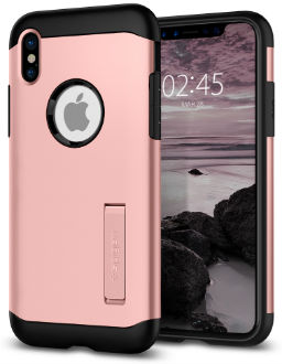 Rose Gold Spigen Slim Armor - Apple iPhone X Case Back View