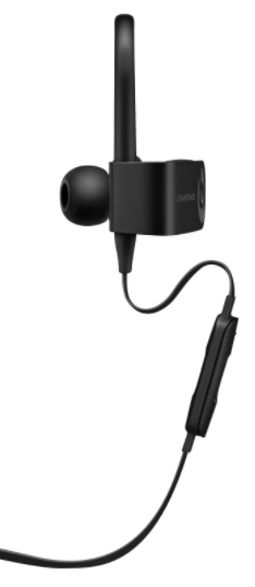 Black Powerbeats3 Earphones Ear Piece Close-Up Front View