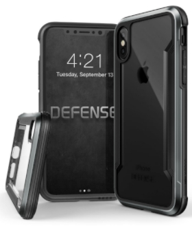 Black X-Doria Defence Shield iPhone X Case Front and Back View