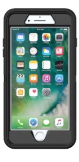 Black Otterbox iPhone 8 Plus Defender Case Front View